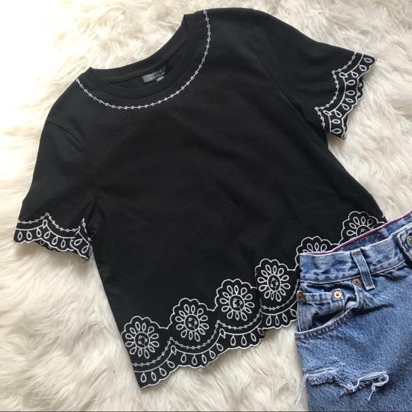 5e963cd31bc3b TOPSHOP Black Floral Embroidered Crop Top Festival.  M 5aca2fbcd39ca20c27e9037c